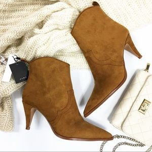 Zara Trafaluc Pointed Suede Ankle Booties